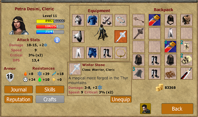 Picture of Exiled Kingdom Character Inventory Screen