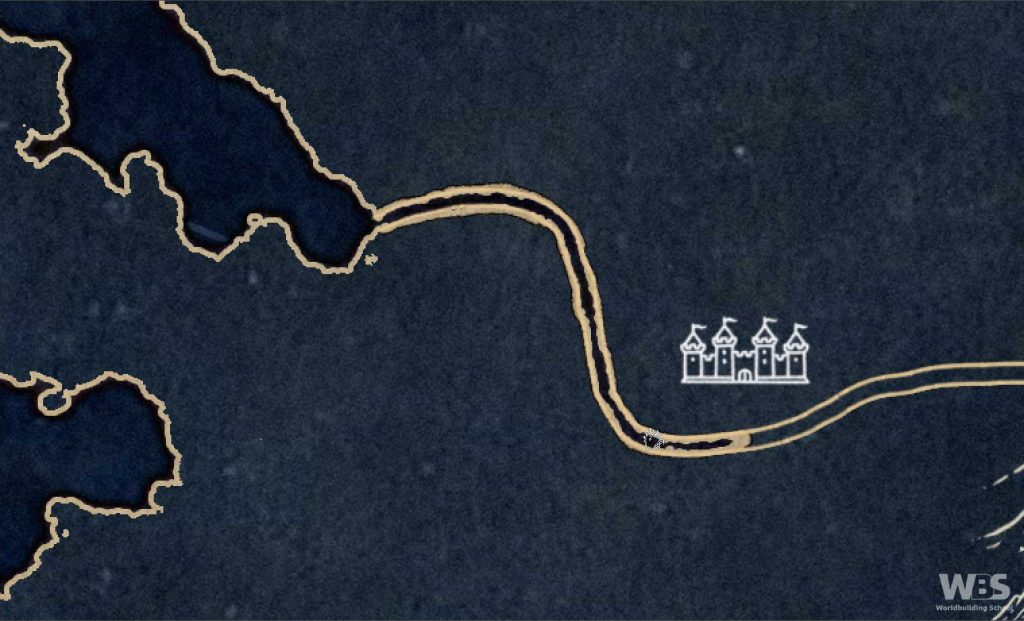 A winding river is being drawn on a map. The land is blue and the coastline is gold.