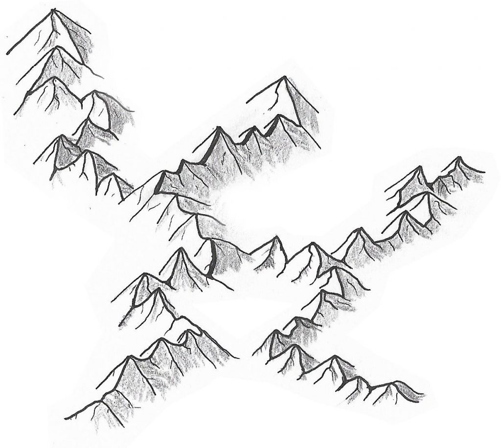 How to draw mountains on a map   an easy step by step guide.